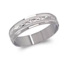 14K Solid White Gold band Ring Men's Women's Engagement Wedding 5mm size 5-11