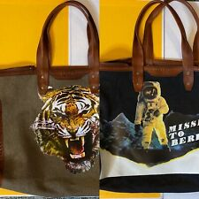 LIEBESKIND BERLIN Reversible Canvas Tiger Space Man Weekender TOTE Bag