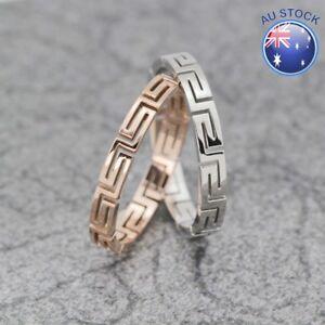 Women's 18K White / Rose Gold Filled Vintage Greek Style Wedding Engagement Ring