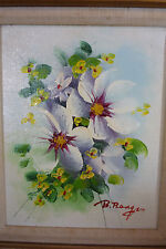 IMPASTO Oil Painting on Canvas FLORAL - Signed B. Reagan VTG