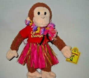 "Applause Curious George Hula Skirt Plush Small 9""  Swing and Tush Tags Preowned"