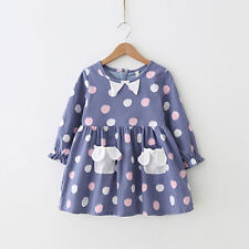 Toddler Girls' Cotton Long Sleeve Polka Dot Casual Lined Purple Pocket Dress
