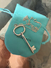 "Tiffany & Co Sterling Silver OVAL KEY NECKLACE PENDANT XL 16"" CHAIN POUCH INCLUD"