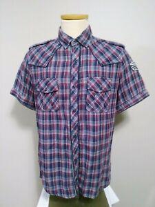 Buffalo David Bitton Shirt Men's Large Plaid Western Short Sleeve Button Up