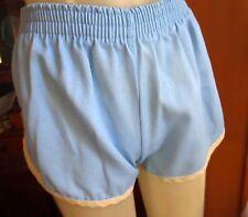 "Small 24W 24"" True Vtg 80s Blue Piped Elastic Waist Womens Gym Class Shorts"