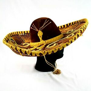 """Vintage Mexican Sombrero Hat Mariachi Brown Velvet Gold Stitched 22"""" Wide Mexico"""