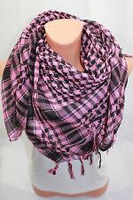 Olp Pali Pañuelo XL Palestino para Bufanda Motivo de Cuadros Pañuelo Rosa Negro
