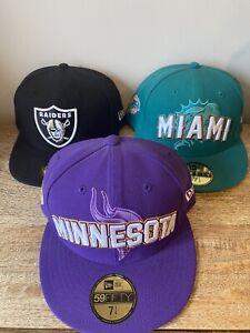 Mens hat cap new era bundle lot 3 fitted 7 1/4 NFL MIAMI MINNESOTA OAKLAND