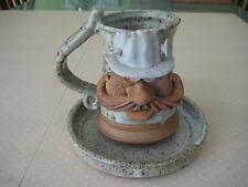 Vintage Robert Eakin Funny Face Art Pottery Mug & Saucer, Signed By Robert Eakin