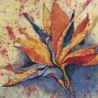 Original Abstract Bird of Paradise Painting Watercolor Batik on Rice Paper 16x16