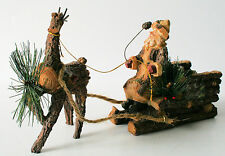 Bark Santa Claus in Sleigh with Reindeer Figurine Lodge Rustic Cabin  NEW IN BOX
