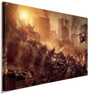 Godzilla Leinwandbild AK ART Kunstdruck Mehrfarbig Wandbild Wanddeko TOP XXL