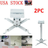2x Universal Adjustable Tilt Projector Ceiling Wall Mount Bracket DLP LCD White