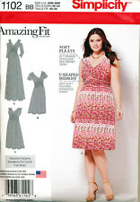 SIMPLICITY SEWING PATTERN 1102 MISSES 20W-28W COLD SHOULDER DRESS/MAXI PLUS SIZE