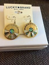 Lucky Brand Goldtone Natural Abalone  Disc Drop Earrings JLRU5782   LC62