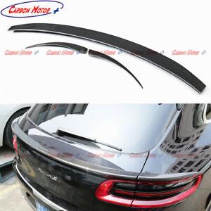 For 14-18 Porsche Macan/ S Carbon Fiber Middle Rear Spoiler Trunk Lid Wing 3 Pcs