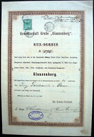 Gew. Grube Glanzenberg Kuxschein Köln Mülheim 1900 Erz Bergbau Guilleaume Noell