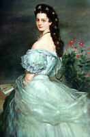 Hand painted Oil painting nice noble lady Empress Elisabeth in landscape canvas