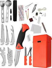 Überlebensset Survival Kit mit Klappmesser in Kunststoffbox 33 Einzelteile