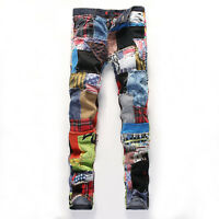 Boys Mens Punk Rock Denim Jeans Pants Slim Denim Jeans Pants Trousers Mixed Size