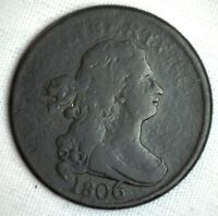 1806 1/2C Draped Bust Half Cent Copper Coin Very Good Large 6 Variety C-4 VG #M2