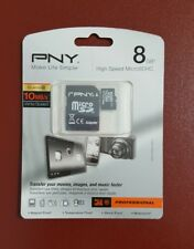 PNY MicroSDHC 8 GB Memory Card + SD Adapter Professional Class 10 Movies & Music