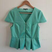 Portmans Mint Green Size M Medium Peplum Top Zip Front Work Wear Corporate