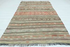 "Turkish Kilim Rug, Striped Design Rug, 5X7, Area Rugs, Carpet, Wool Rug 54""x81"""