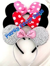 3 Minnie Mouse Headbands Black Plush Pink Red White Polka Dots Shiny Silver Ears