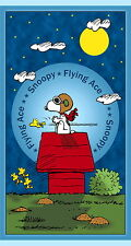 PEANUTS SNOOPY FLYING ACE RED BARON PANEL QUILTING TREASURE 100% COTTON FABRIC