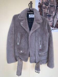 Rare Acne Studios Merlyn Shearling Moto Jacket In Ecru 34 Size