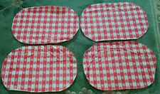 Vintage Retro Set of 4 Red & White Plaid Checked with Flower Placemats.