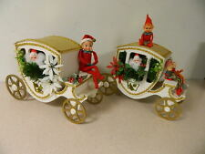 VTG KNEE HUGGER PIPE CLEANER ELF ELVES SANTA CHRISTMAS STAGE COACH SET 1950S