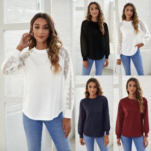 Autumn Women Loose Casual Shirt Sweatshirt Tee Ladies Lace Patchwork Blouse Tops