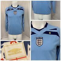 6779187a5 England National Team Jersey M Blue Soccer Long Sleeve 100% Poly EUC YGI P9-