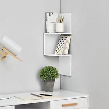 [en.casa] Étagère mural suspendre étagère coin étagère de livre Zigzag blanc
