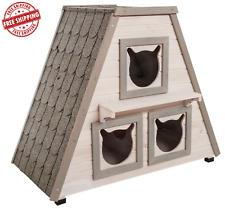Mascota Gato den casa refugio Kennel interior al aire libre fuera de madera choza 3 habitaciones * Nuevo *