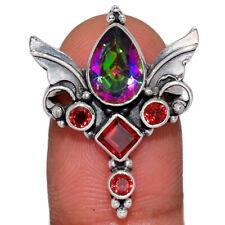 Angel Wings - Rainbow Topaz & Garnet 925 Silver Ring Jewelry s.5.5 AR160248