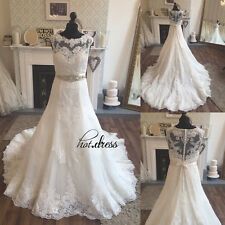 Stock White/Ivory A Line Lace Bridal Gowns Wedding Dresses 6-20 Custom Plus Size