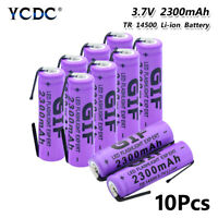 14500 BATTERY RECHARGEABLE 3.7V 2300MAH WITH NICKEL TABS FOR FLASHLIGHT 10PCS D