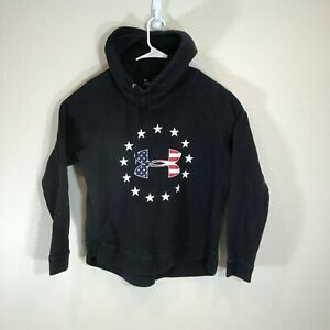 Under Armour Womens Hoodie Large Freedom American Flag Black Pullover Cowl Neck
