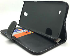 Black Leather Protective Wallet Case Cover Samsung Galaxy Mega 6.3 i9200, i9205