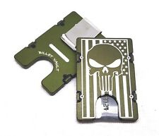 American Flag Punisher Aluminum Wallet/Credit Holder, RFID protection, Green