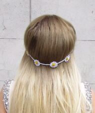 White Daisy Flower Headband Garland Hair Crown Boho Festival Floral Band 2884
