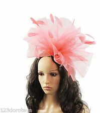 Coral Feather Wedding Ascot Melbourne Cup Fascinator Hat M13