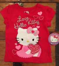 Hello Kitty Little Girls Shirt Top Blouse Red with Hearts and Sparkle Sz 2T  New