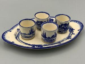 Royal Doulton Norfolk - Vintage Blue & White 4 x Egg Cups Set on Stand.