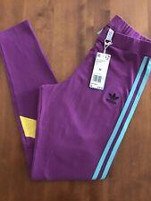 NWT Women's Adidas High Waist Leggings Purple Aqua Yellow Size M $40💜🎗3 Stripe