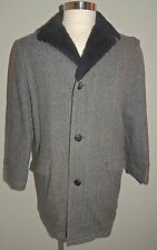VTG 60s MEN'S UNBRANDED GRAY/BLACK HERRINGBONE WOOL BLEND COAT