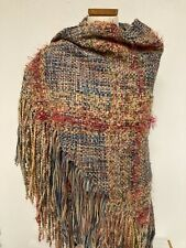 ARTSY SHAWL WRAP  X-Long FRINGE Handwoven PASTELS Multi-Color NATURAL Fibers